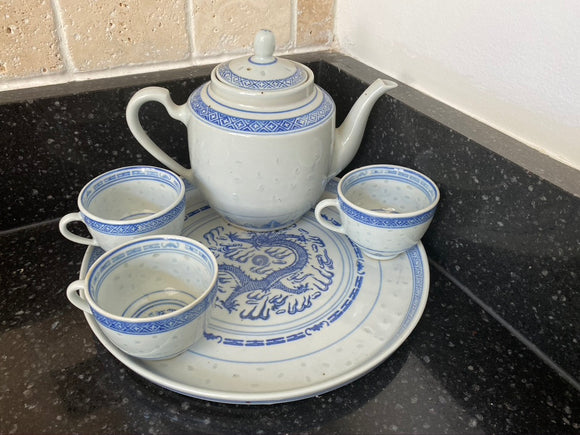 Vintage Jing De Zhen Blue and White Rice Eye Pattern Dragon Tea Set with 5 Cup Teapot
