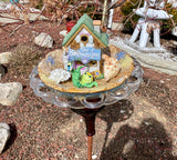 Vintage Repurposed Garden Ceramic and Glass Bottle Art with Ceramic Bird House & Frog - Nature Land Candles