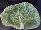 "Bordallo Pinheiro Portugal Pottery Green Cabbage Majolica 13 1/2"" Bowl with White Vein Ruffled Edges - Nature Land Candles"