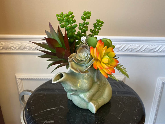 Decorative Planter with Artificial Grass Succulent Plants in a Vintage Elephant
