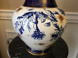 Antique Burroughs & Mountford Potters Wheel Cobalt Blue White Gold Thistle Vase