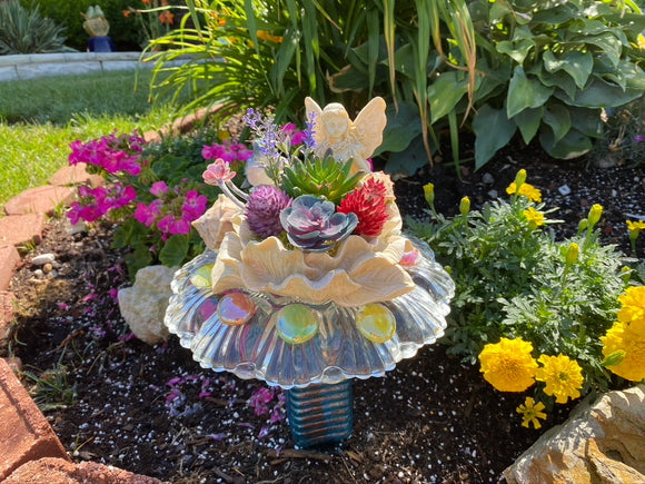 Bottle Yard Art With Vintage Glass, Succulents and An Angel on A Flower