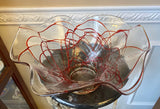 Hand Blown Art Glass Clear Bowl with Raised Red Line Pattern Fluted Edges - Nature Land Candles