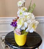 Decorative Planter Pink Red and White Flowers with Duck in a Floratine Yellow Planter - Nature Land Candles