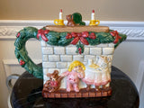 Vintage Fitz and Floyd 1992 Christmas fireplace 5 Cup Teapot