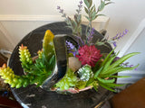 Decorative Planter with Artificial Grass Succulent Plants in a Mid Century Ceramic Basket