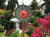 Vintage Repurposed Glass  and Ceramic Flower Yard Art With Orange Pumpkin - Nature Land Candles