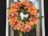 Festive Door Wreath with Artificial Silk Orange and Pink Roses - Nature Land Candles