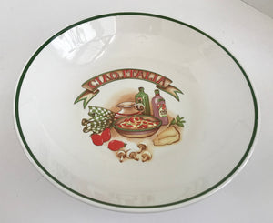 "Vintage Over and Back Inc Ciao Italia 12 3/4"" Pasta Bowl - Nature Land Candles"