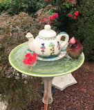Vintage Repurposed Garden Ceramic and Glass Bottle Art with Cermanic Teapot - Nature Land Candles