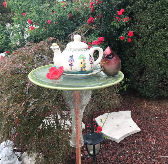 Vintage Repurposed Garden Ceramic and Glass Bottle Art with Cermanic Teapot