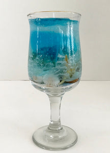 Jasmine Scented High Density Seascape Gel Candle in Glass Pedestal Cup - Nature Land Candles