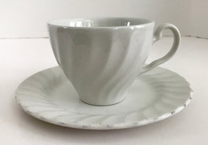 "Johnson Brothers Regency White Swirl 6 1/4"" Plate and Teacup - Nature Land Candles"