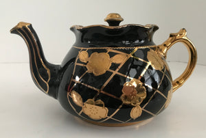 Vintage Arthur Wood Black Teapot with Gold Flowers, Handle and Highlights - Nature Land Candles