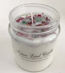 Lilic Scented 100% Soy Wax Candle with Roses, Chrysanthemi and Gemstones - Nature Land Candles
