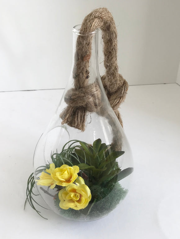 Hanging Glass Vase with Artificial Grass Succulent and Yellow Flowers - Nature Land Candles
