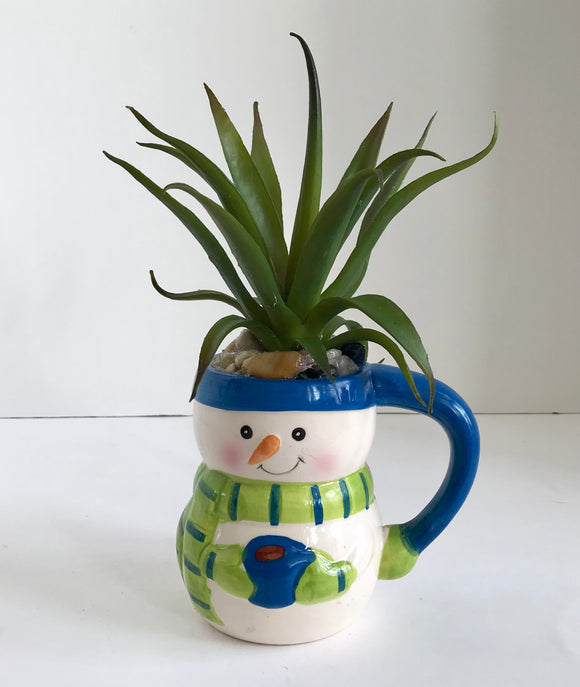 Snowman with Blue Hat and Green Scarf Ceramic Holiday Mug with Large Green Grass Succulent - Nature Land Candles