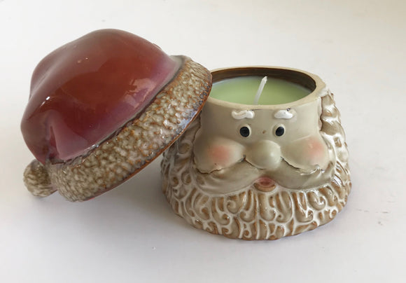Honeysuckle Scented Soy Wax Candle in a Ceramic Santa Claus - Nature Land Candles