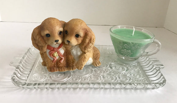 Peach Mango Scented Soy Candle in Vintage Anchor Hocking Glass Snack Set With Adorable Puppies - Nature Land Candles