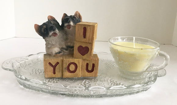 Lime Scented Soy Candle in Vintage Anchor Hocking Glass Snack Set and Puppies - Nature Land Candles