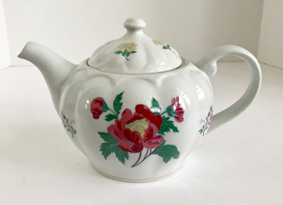 Laura Ashley Parfums Red and Yellow Flower Teapot - Nature Land Candles