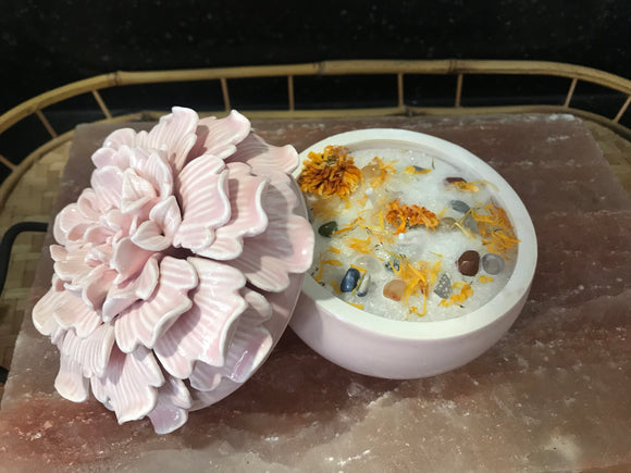 Candle Jasmine Scented Palm Wax Aroma Therapy Candle in Pink Floral Container with Lid - Nature Land Candles