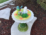 Vintage Repurposed Garden Ceramic and Glass Garden Bottle Yard Art