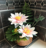 Decorative Bonsai Planter in Handcrafted Round Wood Planter with White Lotus Flowers - Nature Land Candles