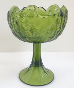 "Vintage Green Glass 9"" Diamond Pattern Scalloped/Crimped Rim Compote - Nature Land Candles"
