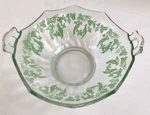 "Rare Vintage Depression Glass 8"" Bowl with Hand Painted Green Double Bird Pattern - Nature Land Candles"