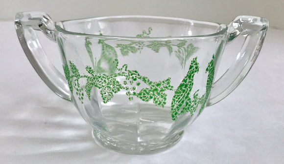 Rare Depression Glass Sugar Bowl with Hand Painted Green Double Bird Pattern - Nature Land Candles