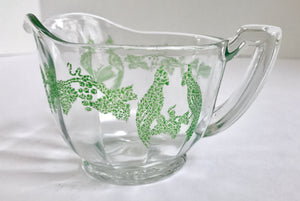Rare Depression Glass Creamer with Hand Painted Green Double Bird Pattern - Nature Land Candles