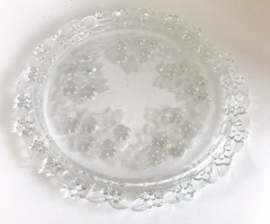 "Vintage Walther Mikasa Carmen Crystal Glass Frosted 13"" Cake Plate - Nature Land Candles"