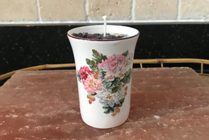 Lavender Scented Soy Candle in Porcelain Tea Cup with Pink and White Flowers - Nature Land Candles