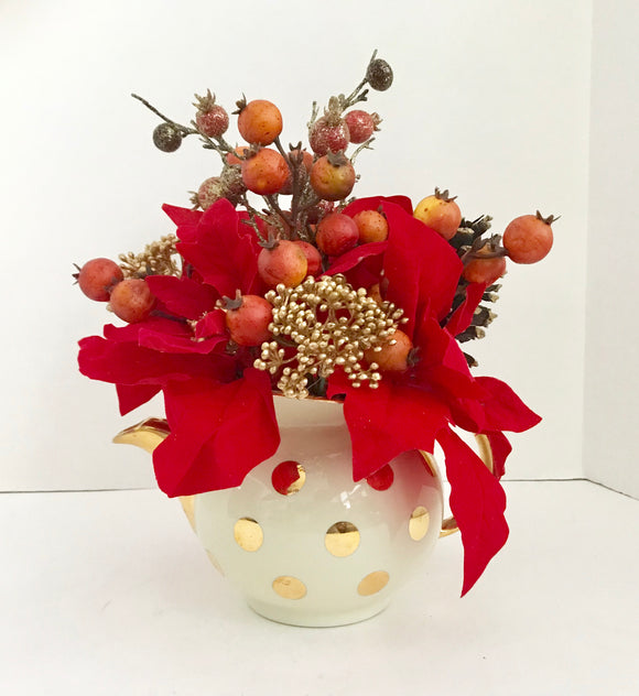 Red Poinsettias with Red and Gold Berries Floral Arrangement in Gold Polka Dot Hall Teapot - Nature Land Candles
