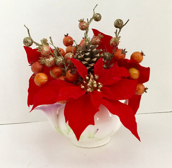 Red Poinsettias with Red and Gold Berries Floral Arrangement in Teleflora Flower Teapot - Nature Land Candles