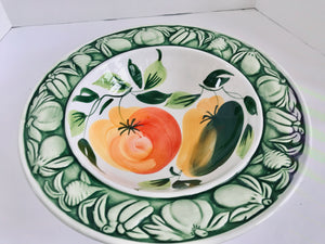 "Italian 14"" Serving/Pasta Bowl with Colorful Vegetable Pattern - Nature Land Candles"