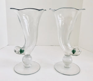 "Pair of Cambridge(?) Unusual 10"" Art Glass Cornucopias Vases - Nature Land Candles"