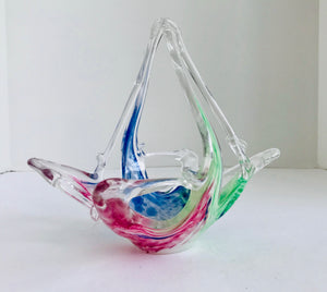 "Vintage Murano Crystal Clear Venetian Rainbow Colored 7 1/2"" Art Glass Basket - Nature Land Candles"