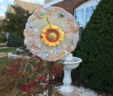 Vintage Upcycled Glass and Ceramic Yard Art With Yellow Sunflower - Nature Land Candles