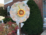 Vintage Upcycled Glass and Ceramic Yard Art With Yellow Sunflower