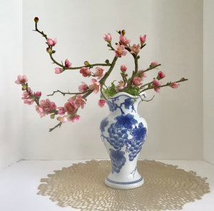 Bonsai Planter with Artificial Red Cherry Blossoms in a Blue and White Asian Porcelain Grape Vase - Nature Land Candles