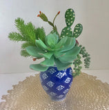Decorative Planter with Cactus and Green Grass Succulents in a Blue and White Vase - Nature Land Candles