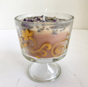 Lavender Scented Soy Candle with Dried Herbs and Gemstones in Clear Glass Pedestal Cup With Gold Trim - Nature Land Candles