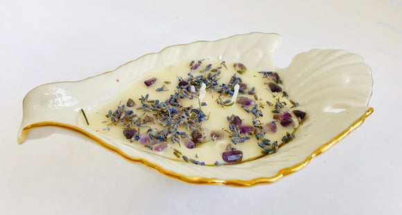 Lavender Scented Beeswax Aroma Therapy Candle With Healing Stones in a Lenox Dove Bowl - Nature Land Candles