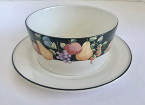 "Sango Fanciful Fruit 3968 5 1/4"" Round Gravy Boat with Underplate - Nature Land Candles"