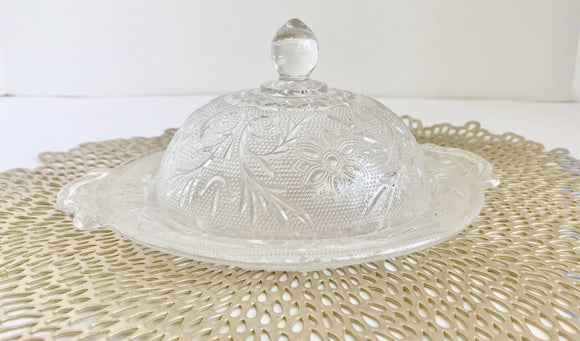 Vintage Anchor Hocking Clear Sandwich Glass Butter Dish With Lid - Nature Land Candles