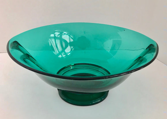 Vintage Green Depression Glass Oval Footed Pedestal Bowl with with Handles - Nature Land Candles