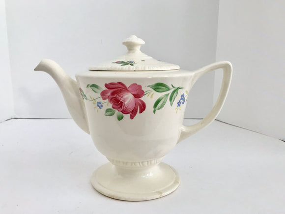 Vintage Homer Laughlin G46 N6 Purple Rose Liberty 6 Cup Teapot - Nature Land Candles