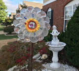 Yard Art Upcycled Frosted Glass Leaf Bowl Yard Art with Yellow Sunflower - Nature Land Candles